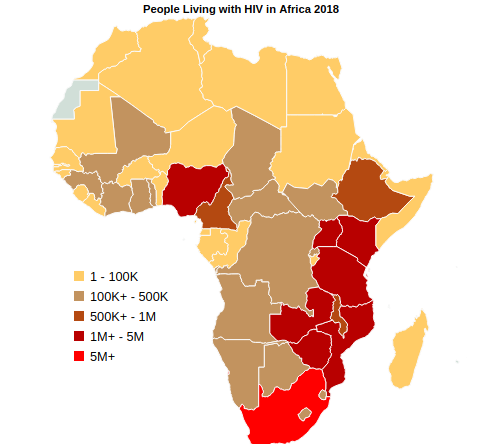 People Living with HIV In Africa By Country in 2018
