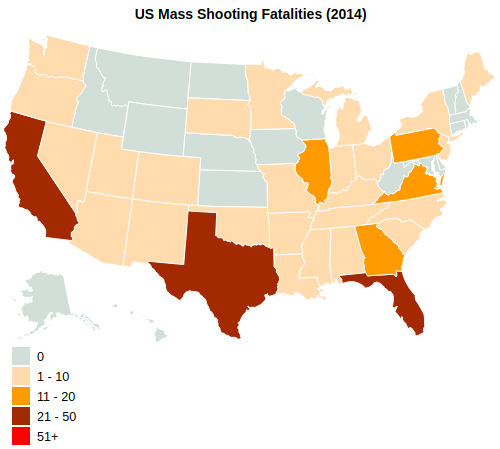 US Mass Shooting Fatalities By State (2014)