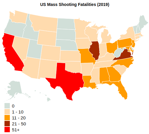 US Mass Shooting Fatalities By State (2019)