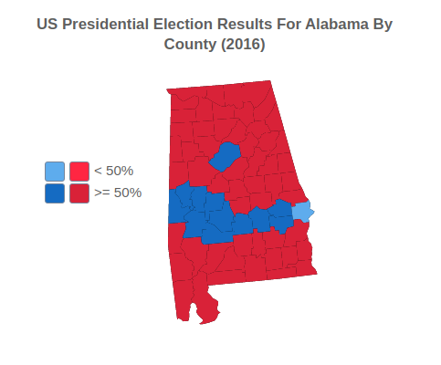 US Presidential Election Results For Alabama By County (2016)