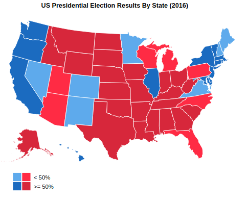 US Presidential Election Results By State (2016)