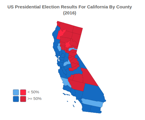 US Presidential Election Results For California By County (2016)