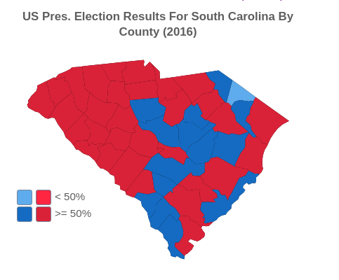 US Presidential Election Results For South Carolina By County (2016)