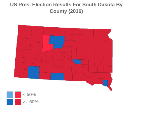 US Presidential Election Results For South Dakota By County (2016)