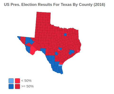 US Presidential Election Results For Texas By County (2016)